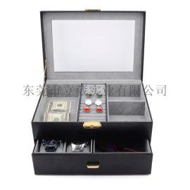 高档手表盒多功能手表收纳盒一字锁化妆盒手表盒