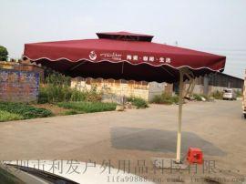 方形双顶侧立伞户外休闲罗马伞大型餐厅广场活动遮阳伞
