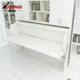 喜庆创意小户型多功能隐形床折叠床 单人书桌柜组合壁床钢琴床