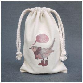 厂家定做印花帆布收纳小袋子棉麻拉绳收口广告袋
