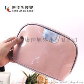 粉色镜面化妆包工厂定做 高档化妆品收纳包定制