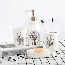 家尚屋 陶瓷衛浴洗漱四件套 北歐印花彩盒包裝