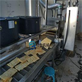 连续式薄脆饼油炸机、炸脆皮的设备厂家、薄脆油炸线