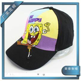 儿童海绵宝宝棒球帽 韩版潮款夏天遮阳帽子 HAPPY棒球绣花布帽