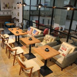 定制美式复古咖啡厅沙发西餐厅自助火锅店烤肉店卡座沙发桌椅组合
