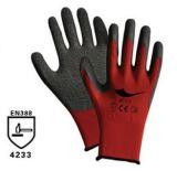 13针红色涤纶丝掌浸灰色乳胶起皱手套
