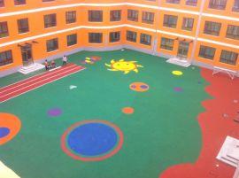 幼儿园室外运动场地铺设 儿童活动区域塑胶 防滑安全塑胶