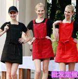 供應餐飲韓式全棉加掛脖厚揹帶圍裙西餐廳咖啡廳服務員圍裙紅黑色