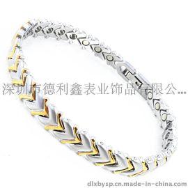 德利鑫 DLXZZ 时尚不锈钢手链 饰品 韩版**手链 磁石钛锗 抗疲劳防辐射手镯 厂家