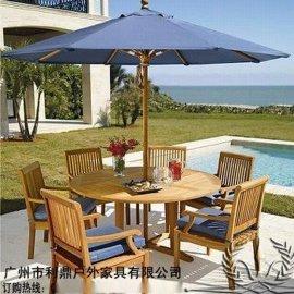 户外桌椅庭院带伞组合户外家具实木桌椅户外折叠桌椅实木花园组合