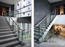不锈钢玻璃楼梯护栏,玻璃栏杆楼梯 厂家直销定制