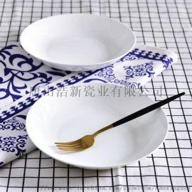 浩新瓷业陶瓷盘子 家用骨瓷8寸汤盘 创意碗盘碟套装