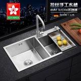 廚房水槽雙槽 手工拉絲304不鏽鋼洗菜盆洗碗池