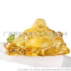 广州古法琉璃工厂 琉璃汽车佛像摆件 琉璃弥勒佛