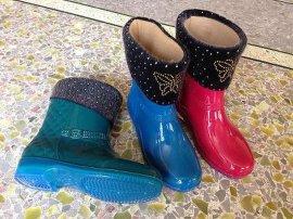 揭阳鞋厂女性毛绒加厚时尚防滑雨鞋