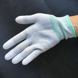碳纤维PU指手套 碳纤维涂指防滑手套 碳素pu涂层手套 防静电碳素手套