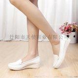 1501天使美足新款真皮白色護士鞋抗震彈力氣墊女單鞋防滑工作鞋