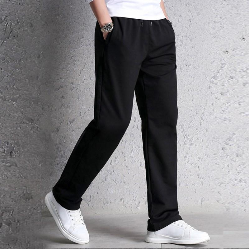 春夏薄款運動褲男寬鬆 休閒寬褲腳 男士黑色運動褲款寬鬆直筒褲子
