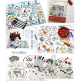 创意儿童涂鸦硅胶餐垫 宝宝就餐吸盘桌隔热餐垫 易清洗餐垫