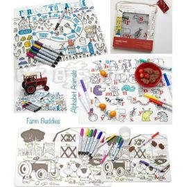 创意儿童涂鸦硅胶餐垫 **就餐吸盘桌隔热餐垫 易清洗餐垫