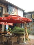 鋁合金圓形雙頂側立傘 戶外休閒遮陽傘咖啡廳景觀傘
