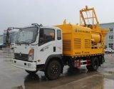 重汽王牌4X2 25方每小时移动式柴电搅拌泵车
