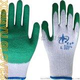 厂家直销L207十针粗涤棉乳胶皱纹手套 劳保手套防护手套