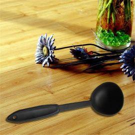 黑色塑料汤勺 塑料长柄勺 果冻布丁勺子 塑料双皮奶勺子