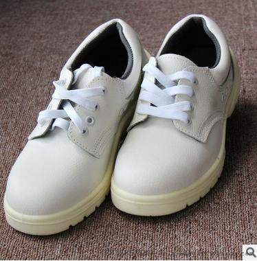 白色防靜電pu底勞保鞋 車間透氣防刺安全防護鋼包頭鞋