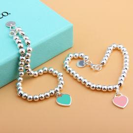 经典款S925银心形珐琅胶红蓝粉心形4mm圆珠手链光珠链