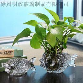 透明玻璃花瓶客廳擺件插花綠蘿富貴竹水培花瓶擺件玻璃魚水培杯