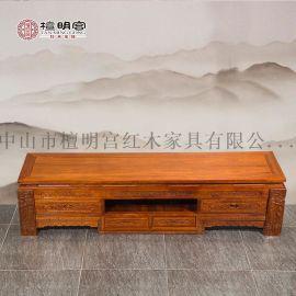 红木电视柜实木中式2米花梨木矮柜檀明宫红木家具刺猬紫檀客厅柜