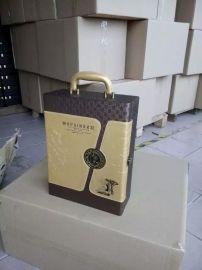 红酒盒双支现货,酒盒现货供用,红酒盒皮盒