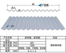 特盾铝镁锰彩钢欧洲横装圆波纹波浪板18-63.5-825