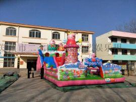 小猪佩奇充气滑梯,充气城堡蹦床,大型充气玩具厂家