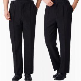 廚師服工作褲酒店餐廳男女工作褲黑色工作褲鬆緊帶工作褲抗皺免燙