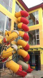 商场不锈钢滑梯幼儿园消防逃生螺旋滑梯户外游乐设备