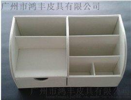 皮革多功能办公桌面收纳盒工厂带抽屉文具整理盒定制创意办公用品厂家