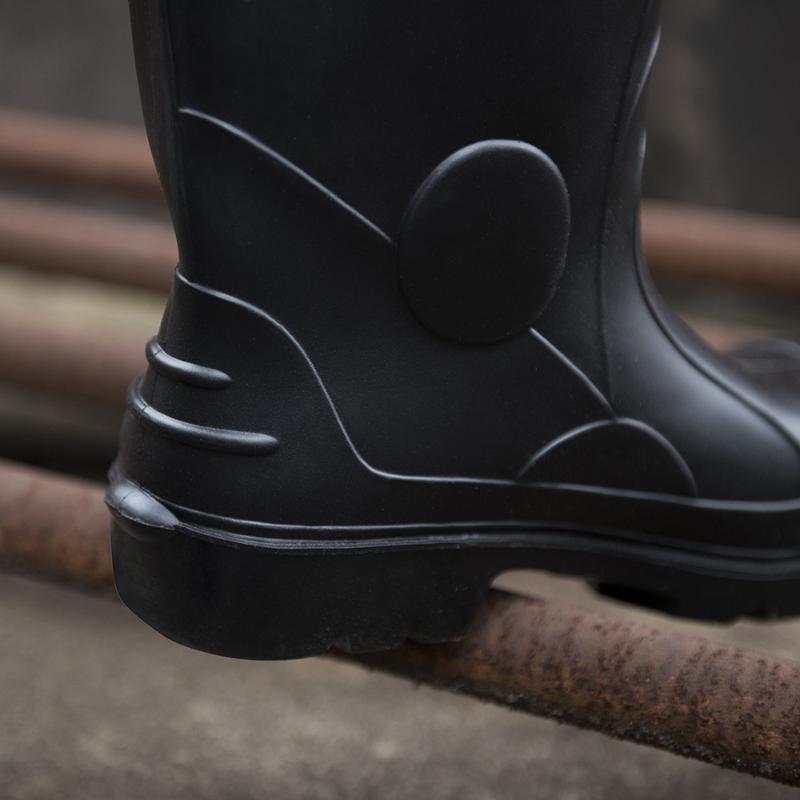 製造加厚PVC高筒耐磨防護雨靴鋼包頭鋼底防砸防穿刺耐油酸鹼雨鞋