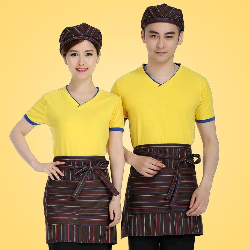 批发时尚餐厅火锅店服务员工服夏装餐饮奶茶快餐店工作服短袖T恤