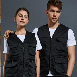 多口袋工装马甲定制工作服摄影马夹外套团队宣传志愿者背心印logo