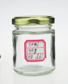 玻璃圆形酱菜瓶带铁盖