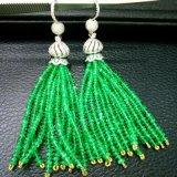 18K金钻石豪华镶嵌祖母绿流苏耳坠颜色通透艳绿