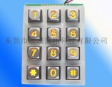 12位电话按键,公用电话按键,锌合金金属发光键盘,