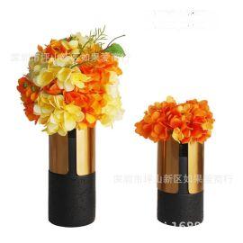 電鍍古銅色鐵樹脂花器瓶禪意日式中式北歐歐式創意樣板間裝飾擺件