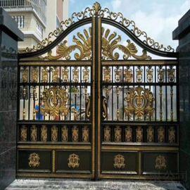 现代中式别墅庭院大门   小区住宅平开门