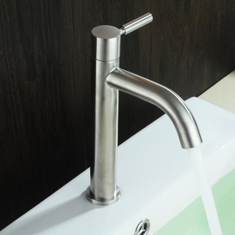 酒店卫浴绮美斯304不锈钢浴室洗手间洗手盆面盆台上盆加高水龙头