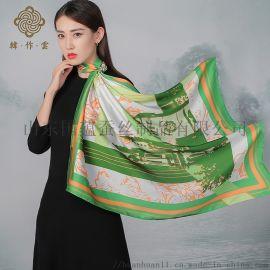 定制加工济南地域图案文化伴手礼品真丝素绉缎丝巾