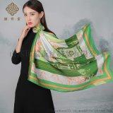 定製加工濟南地域圖案文化伴手禮品真絲素縐緞絲巾
