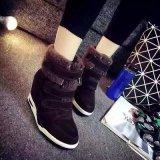 15新款光面絨面純羊毛一體女款內增高雪地靴短靴真皮高幫休閒女鞋
